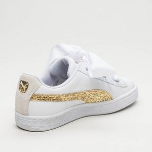 newest 5d482 5cf4b PUMA White Basket Heart Gold Glitter Sneakers NWT